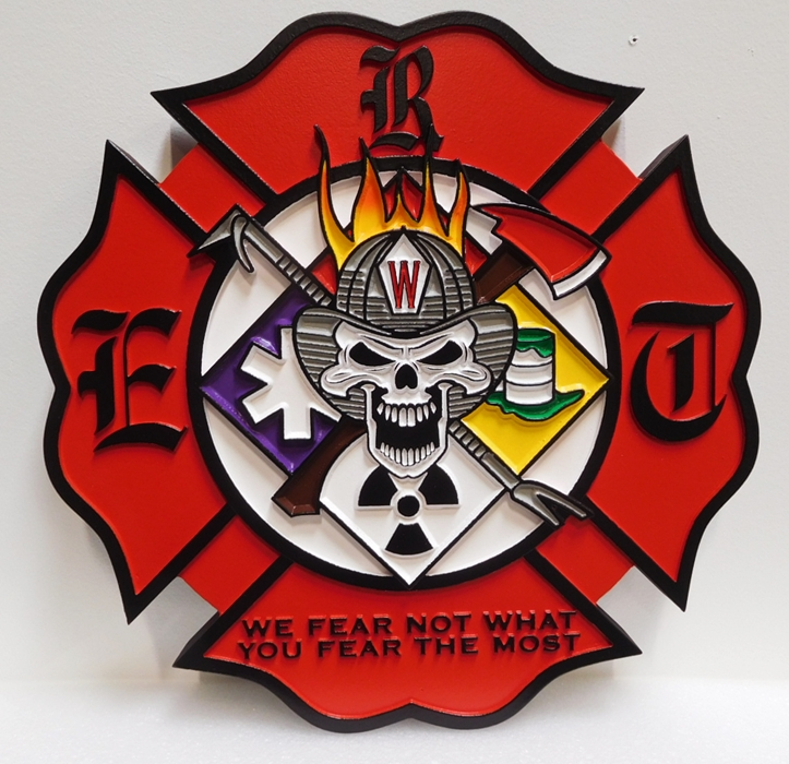 QP-1095 - Carved Plaque of a Badge of a Fire & Rescue Department, 2.5D Artist Painted