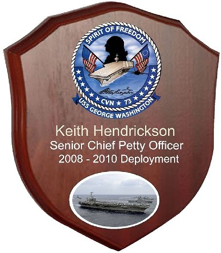 JP-1380 -  Engraved Deployment  Plaque,  with Picture and Photo of USS George Washington, Giclee Prints on Mahogany