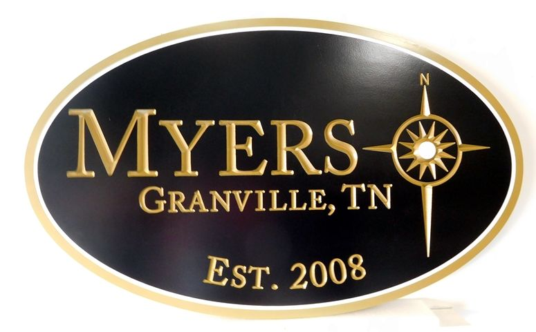 I18132- Carved High density Urethane Sign with Company Logo of Raised Compass