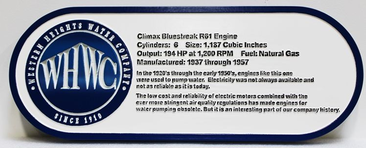 F15934 - Carved HDU Historical Informational  sign  for the Western Heights Water Company, with Company Logo