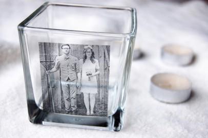 Goodwill DIY Valentine's Day idea: photo glass candle votive