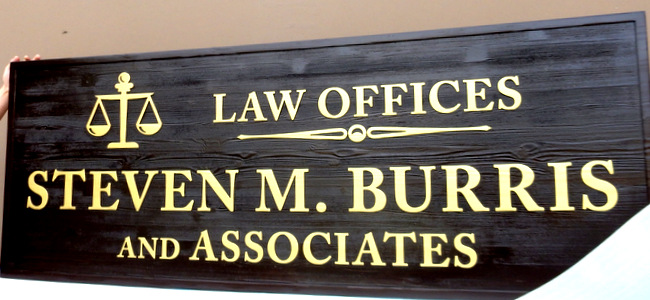 A10139 - Carved and Sandblasted Cedar Wood Law Office Sign