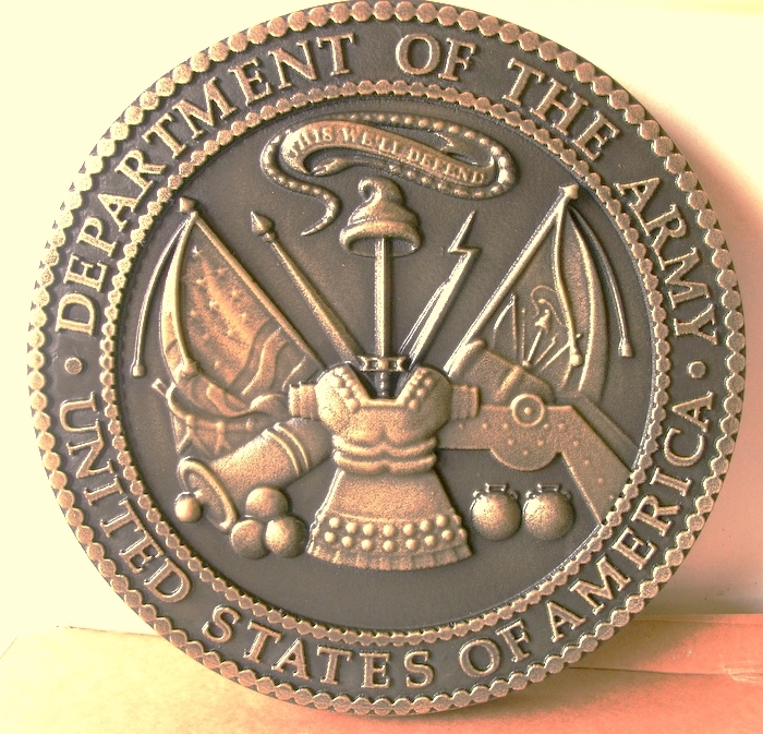 MP-1050- Carved Plaque of the Great Seal of the US Army., Bronze-Plated