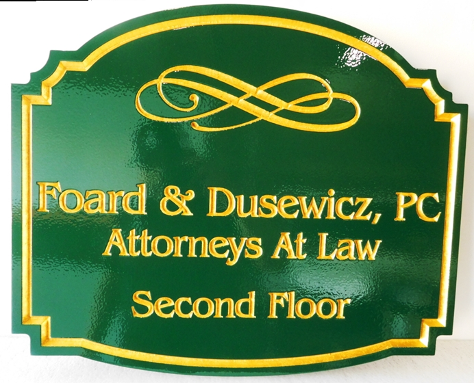 A10041 - Carved, HDU Sign for Attorney at Law with 24-K Gold Leaf Gilt Text and Insignia