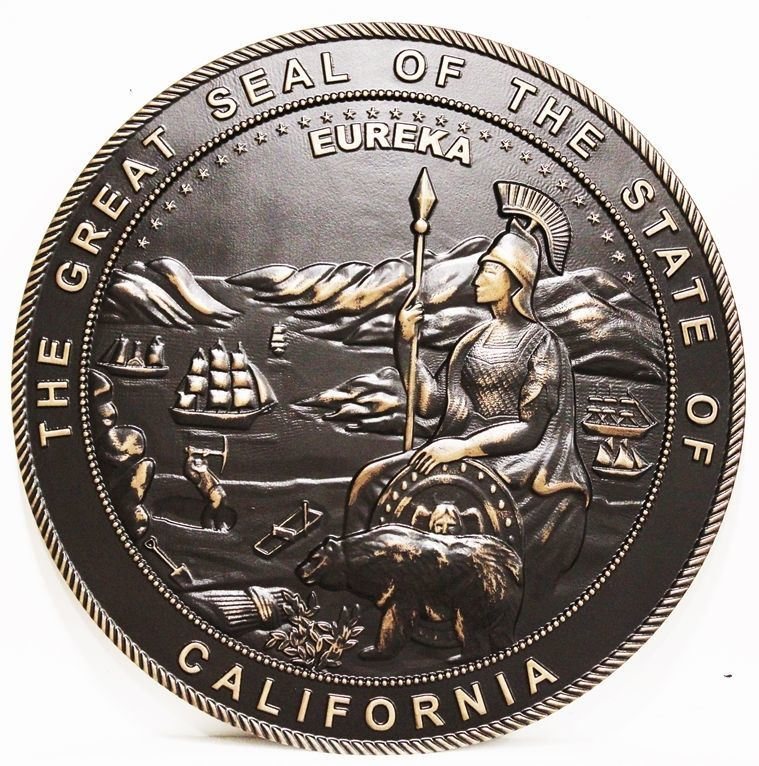 BP-1044 - Carved 3-D Bronze-plated  Plaque of the Seal of the State of California