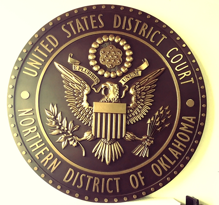 U30128 - Carved 3-D Brass-Coated  Wall Plaque for the Seal of the Federal District Court of Northern Oklahoma.