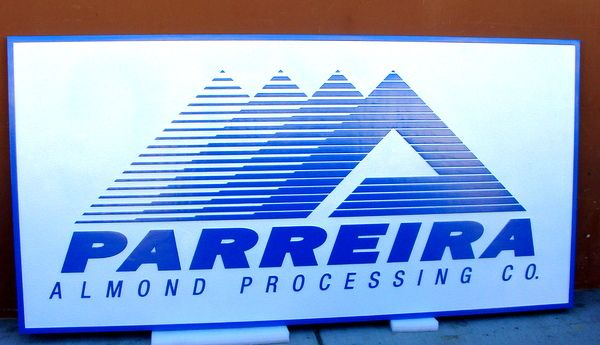 """S28071 - Carved HDU Sign for the """"Parreira  Almond  Processing""""  Company with Stylized Logo"""