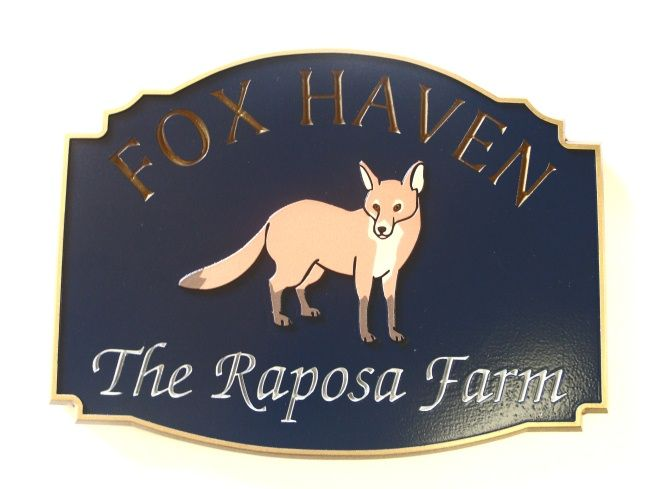 """O24611 - Carved  """"Fox Haven -The Reposa Farm"""" Sign, with Artist-Painted Fox as Artwork"""