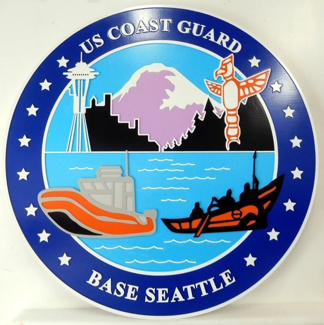 Y31920 - Carved 2.5-D HDU Plaquefor Base Seattleof the US Coast Guard, with boatrs, Mt. Rainier and the Sppace Needle as Artwork