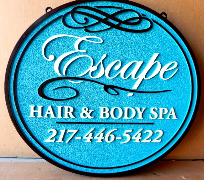 """S28087 - Elegant Sign for the """"Escape Hair & Body Spa"""""""