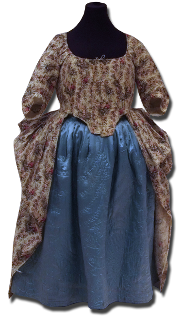 Chintz Dress, maker unknown, made in the United Kingdom, circa 1790, 57.5 x 24 x 121 in, IQSCM 2005.032.0001