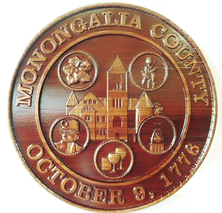 CP-1320 - Carved Plaque of the Seal of Monongalia County, West Virginia, Mahogany Wood
