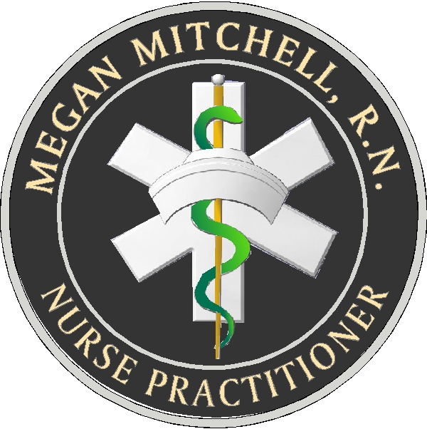 B11046 - Carved 3-D HDU Wall Plaque for Nurse Practitioner with R.N. Emblem