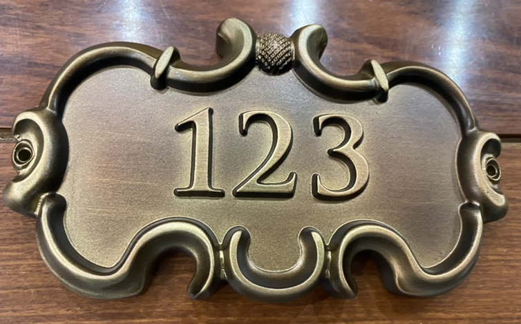 E14796 - Carved 3-D Bronze-plated HDU Address Number Sign with a Golf Ballas Artwork
