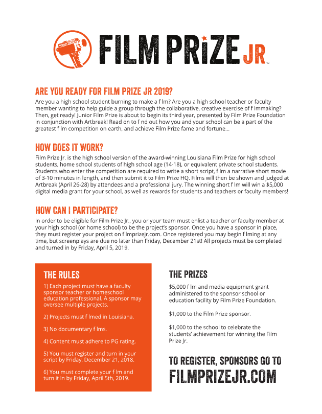 Film Prize JR. Contest! For High School Teachers and Students