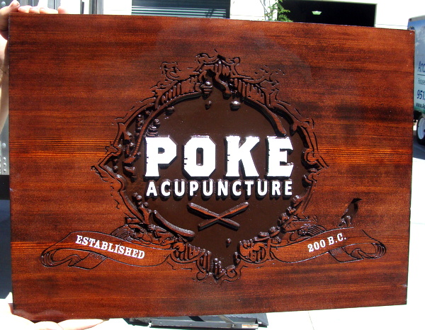 "B11168 -  Carved and Engraved Stained Cedar Wood Office Sign for ""Poke Acupuncture"""