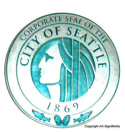 X33180 - Carved Wood Wall Plaque of the Seal of the City of Seattle