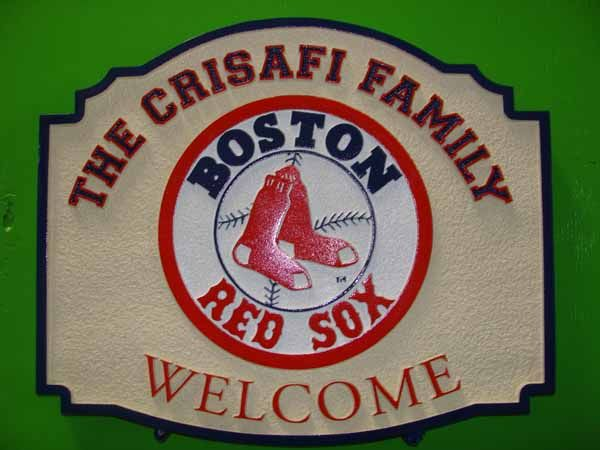 I18664 - Carved Residence Welcome &  Name Sign, with Boston Red Sox Logo