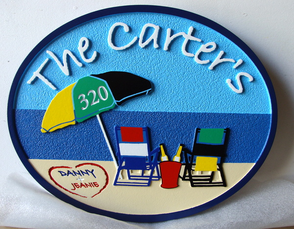 L21016 - Carved Beach House Address Sign, with Umbrella, Beach,and Two Chairs