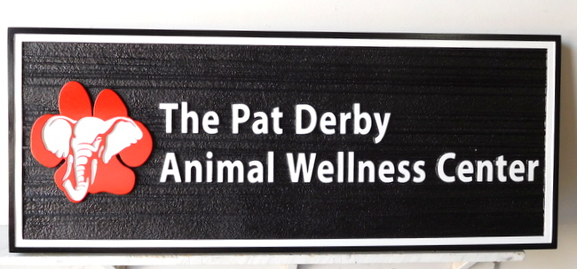 BB11778 - Sign for Pat Derby Animal Wellness Center, with Elephant as Artwork
