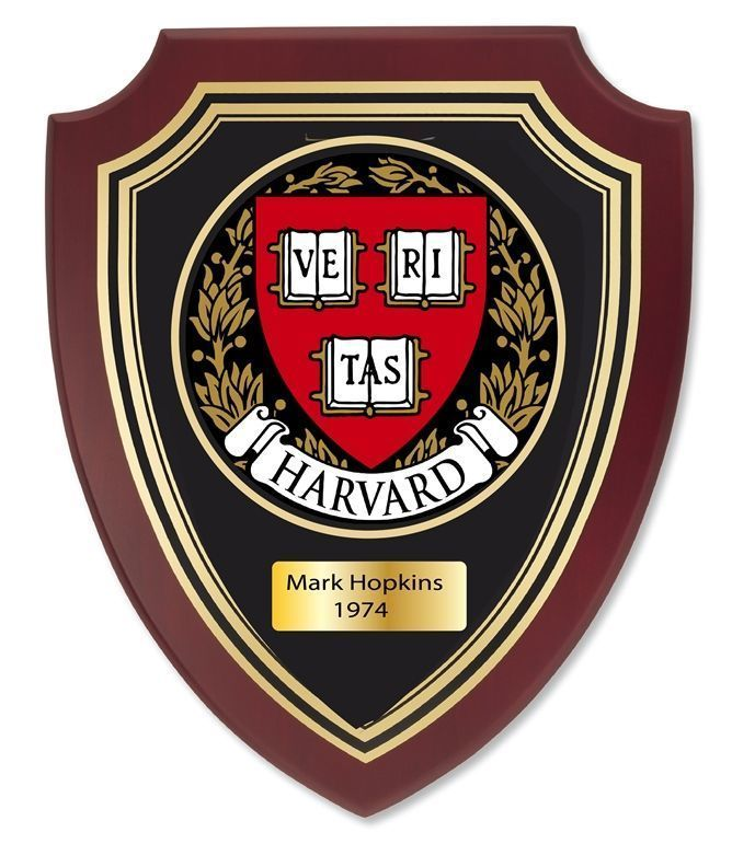 Y34343 - Carved Mahogany Personalized  Plaque with the Seal of Harvard  University