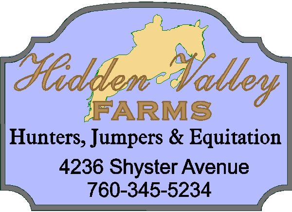 P25202 - Carved HDU Entrance and Address Sign for Hidden Valley Farms, with Equestrian Jumping Fence (in Silhouette)