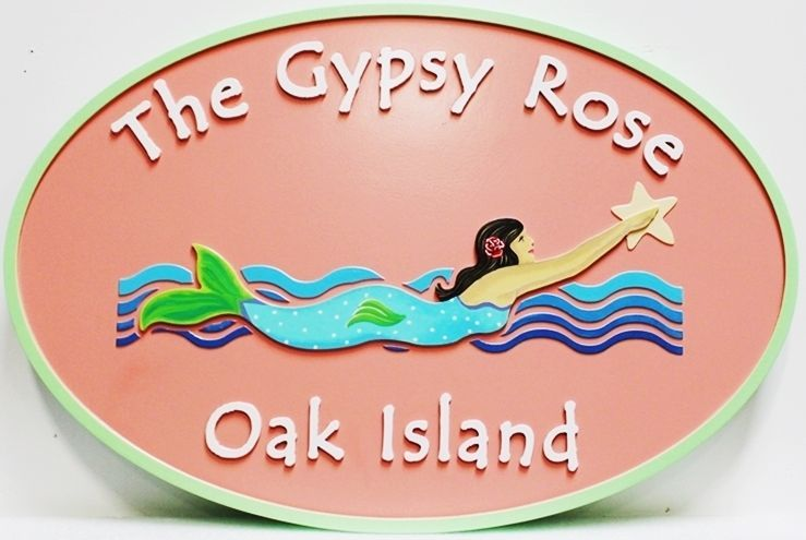 """L21900 - Carved 2.5-D Multi-level Relief HDU Coastal Residence Name Sign """"The Gypsy Rose"""", with Swimming Mermaid as Artwork"""