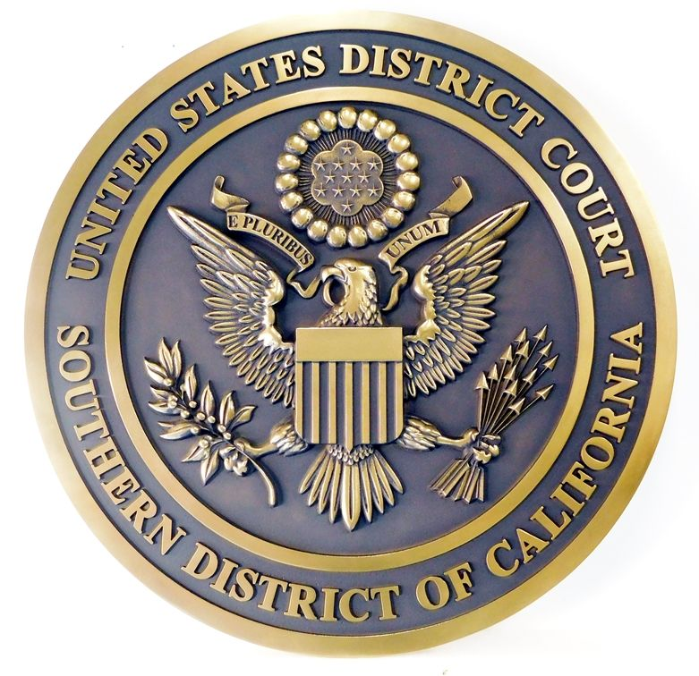M7161  - 3D  Brass Wall Plaque for US District Court of the Northern District of California