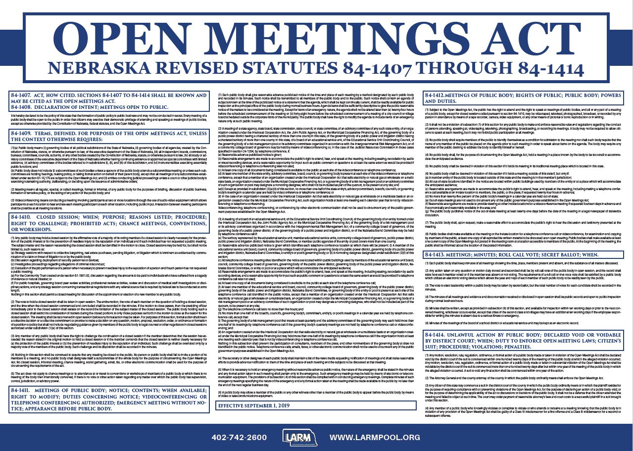 Complimentary Open Meetings Act Poster