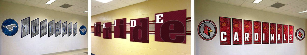 3 sets custom signs in school hallway with school colors and mascots, school signs with character words