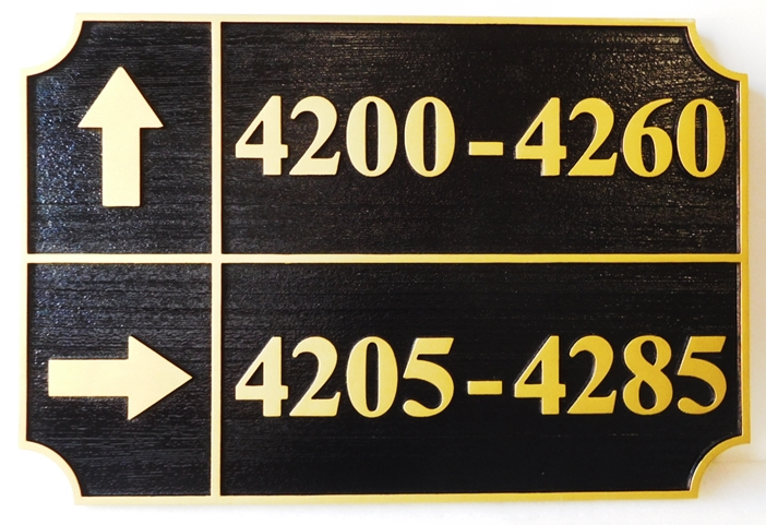 KA20847 - Unit Number Directional Sign for an Apartment Complex