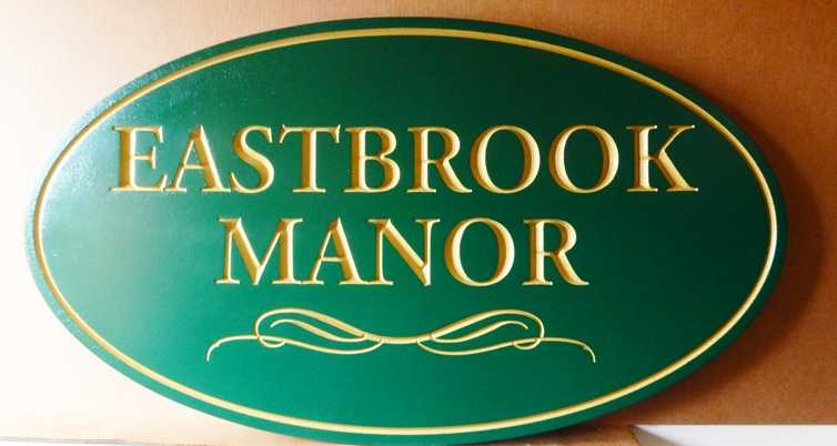 "I18130 - Property Name Sign, Engraved HDU, ""Eastbrook Manorl"""