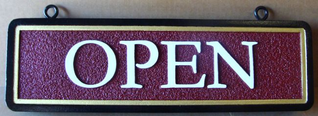 "Q25864 - Sandblasted, Sandstone Texture, HDU Hanging Sign for ""Open"""