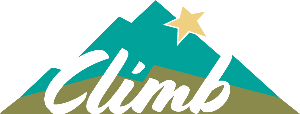Climb word graphic with a large mountain and star in the backround.