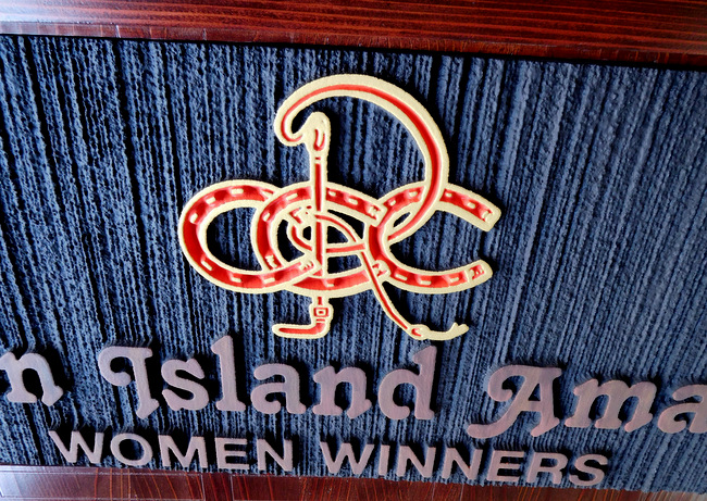 P25231 - Carved HDU Plaque for Women Winners  in Horsemanship  with Stylized Art Showing Riding Crop and Horseshoes