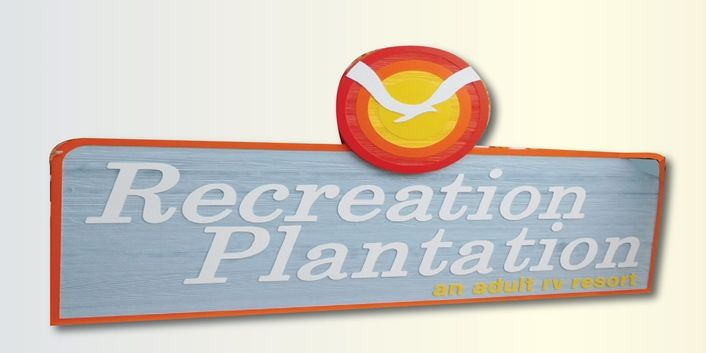 "K20300  - Carved HDU Sign,  for ""Recreation Plantation"" an Adult Resort. with Wood Grain Sandblasted Background"