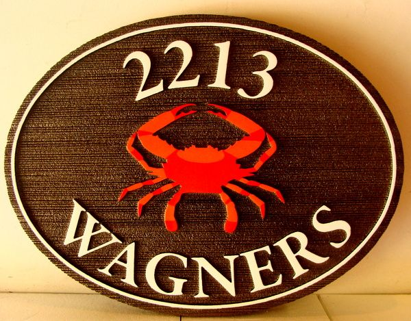 L21562 - Sandblasted HDU Coastal Address Sign, with Crab
