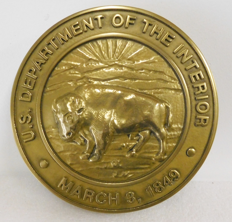 U30183 -  3-D Bas-Relief Brass Plaque of the Seal of the Department of the Interior, with Bison