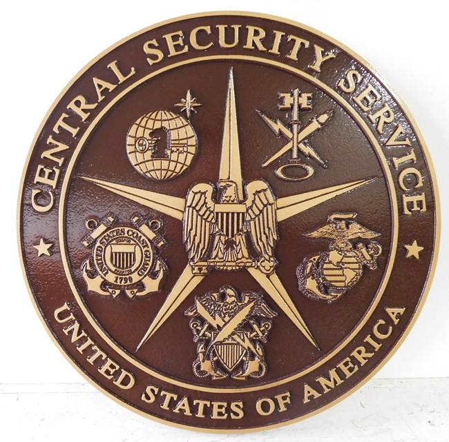 IP-1400 -  Carved Plaque of the Seal of Central Security Service,   Painted Metallic Bronze