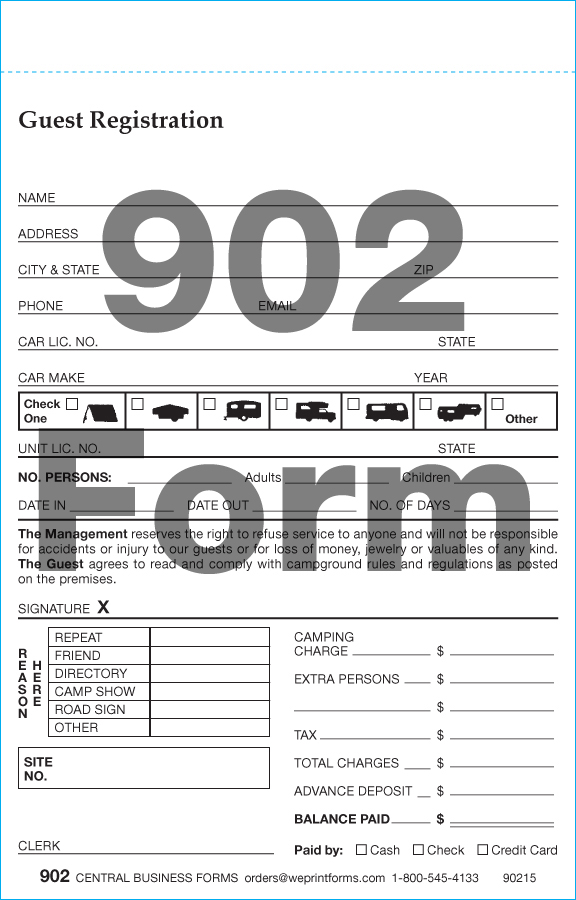 Campground Registration Forms