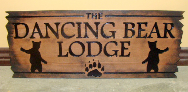 M22874 - Engraved Rustic Cedar Sign with Dancing Bears