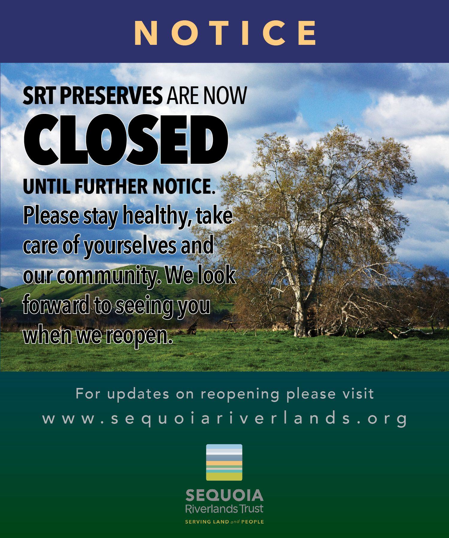 SRT Preserves CLOSED to public effective April 2, 2020