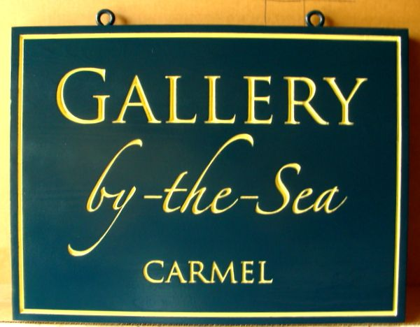"SA28413A - ""Gallery-by-the-Sea"" Engraved Sign, in Carmel, California"