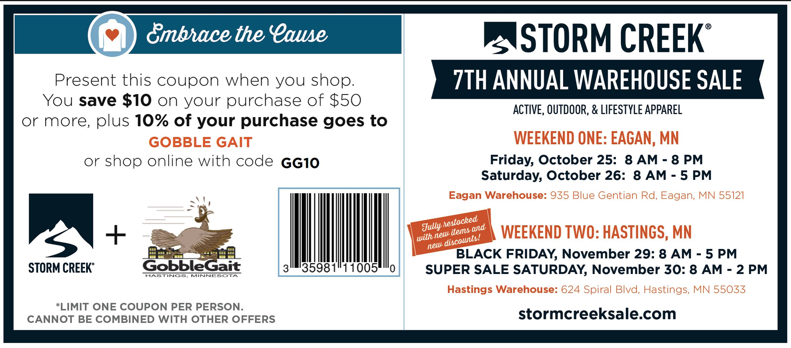 Storm Creek Warehouse Sale