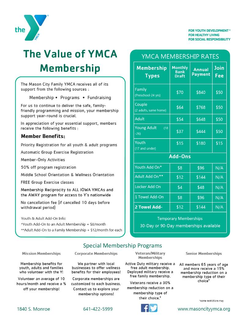 Mason City Family YMCA Membership