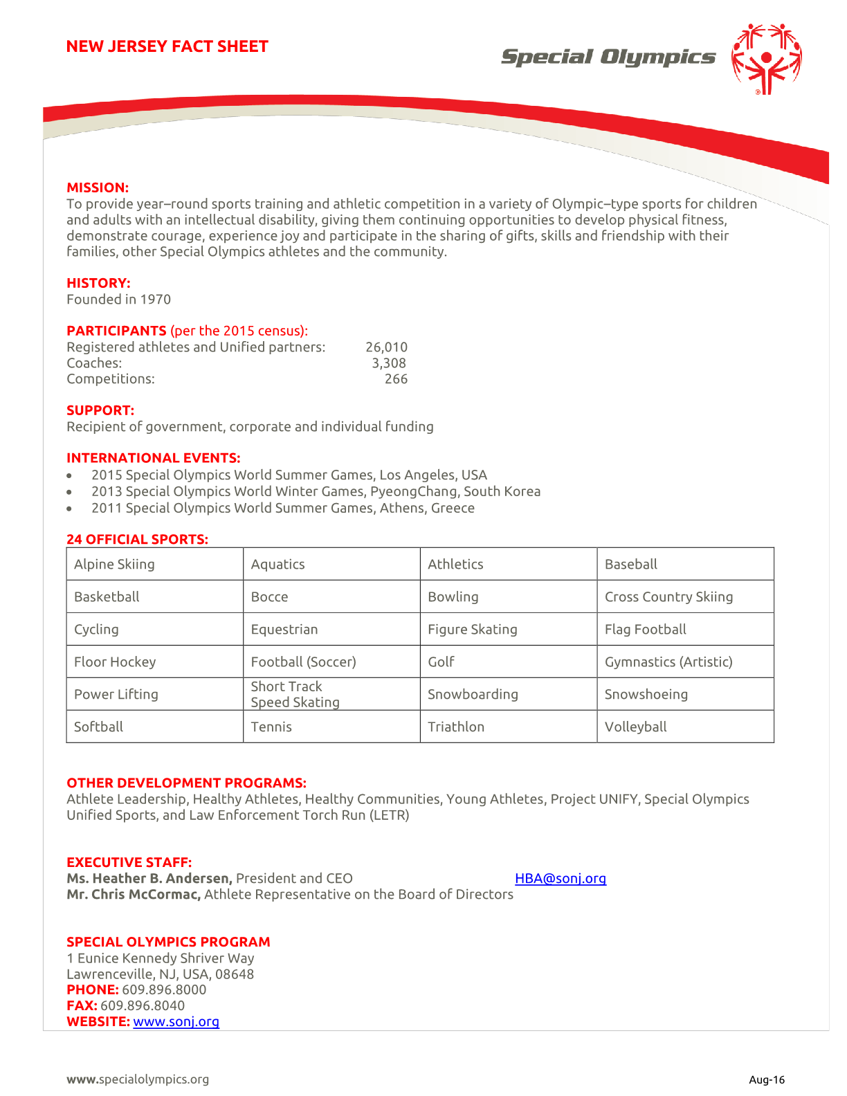 New Jersey Special Olympics Fact Sheet