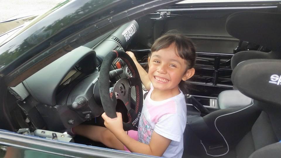 Lorena in a race car!