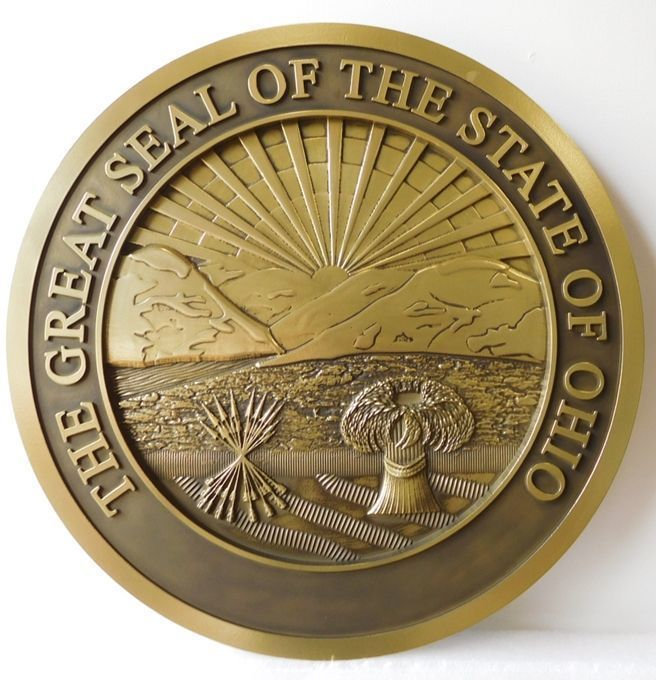 W32405 -Carved 3-D Brass-plated  Plaque of the Great Seal of the State of Ohio