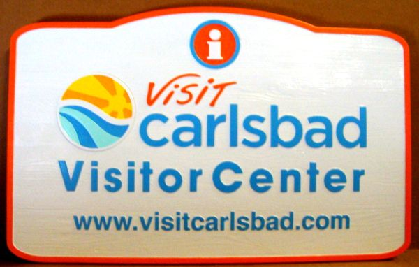 "L15240 - ""Carlsbad Visitor Center"" Wooden Entrance Carved Wooden Entrance Sign with Web Site"