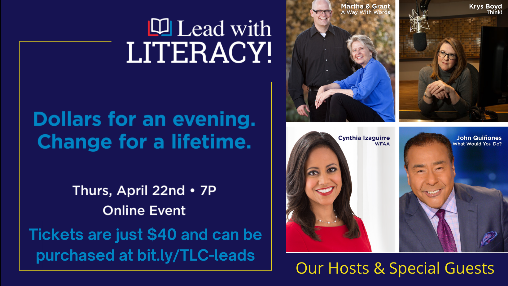 Lead with Literacy Virtual Event and Fundraiser: April 22 @ 7PM